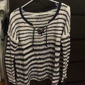 🌿FREE PEOPLE🌿 STRIPED LACE UP SWEATER